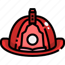 firefighter, fireman, hat, helmet, protection, safety, security icon