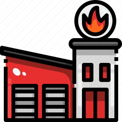 building, emergencies, fire, firefighters, station icon