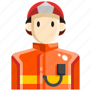avatar, firefighter, fireman, job, person, security icon