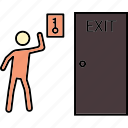 emergency key, escape key, exit door, exit key, fire door key, fire key icon