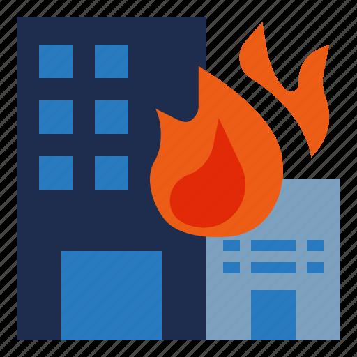 building, burn, burning, damage, emergency, fire icon