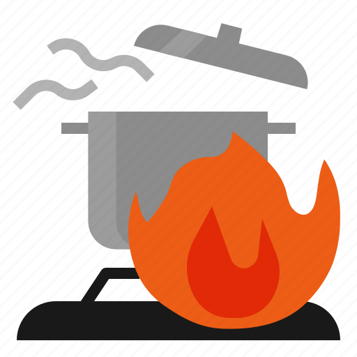 accident, burn, causing, cooking, fires, home icon