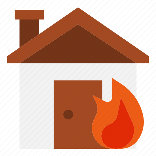 building, burn, emergency, fire, home, house, insurance icon
