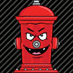 cartoon, emoji, fire, hydrant, smiley icon