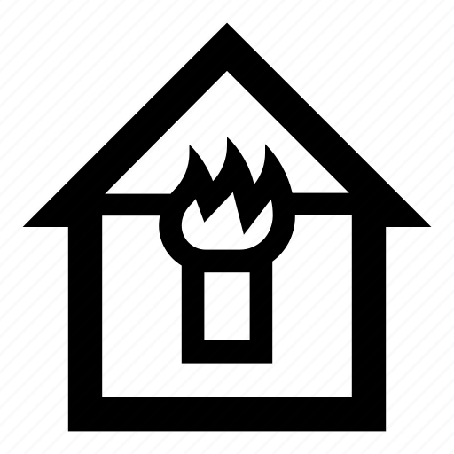 burn, fire, home, house, house burn, house fire, window icon