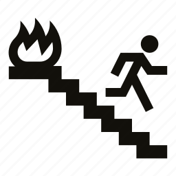 do not use elevator, emergency exit, escape, evacuation, fire, stairs, use stairs icon