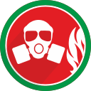 burn, fire, gasmask, protect icon