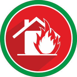 emergency, fire, flame, house icon