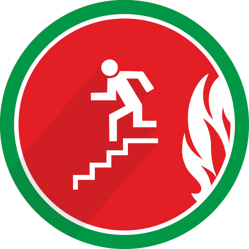 direction, down, fire, flame, left, stairs icon