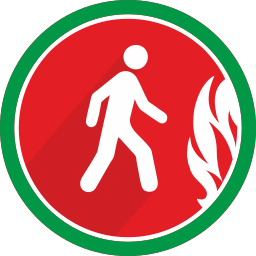 danger, fire, person, walking icon