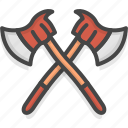 axe, filled, firefight, outline, service icon