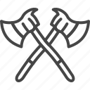 axe, firefight, line, outline, service icon