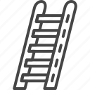 firefight, ladder, line, outline, service icon