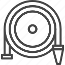 firefight, hose, line, outline, service, water icon