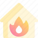 accident, building, burning, danger, fire, flame, house icon