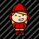 firefighter, firefighting, firegirl icon