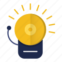 alarm, alert, bell, fire, firefighter, notification, warning icon