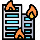 building, fire, firefighter, firefighting, fireman icon