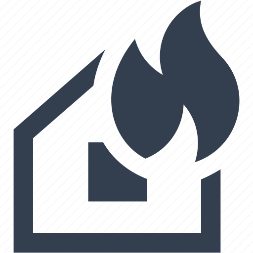 accident, alert, building, burning, fire, firefighter, home, house icon