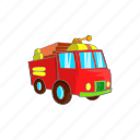 cartoon, fire, firetruck, sign, transportation, truck, vehicle icon