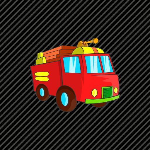 cartoon, fire, firetruck, sign, transportation, truck, vehicle icon
