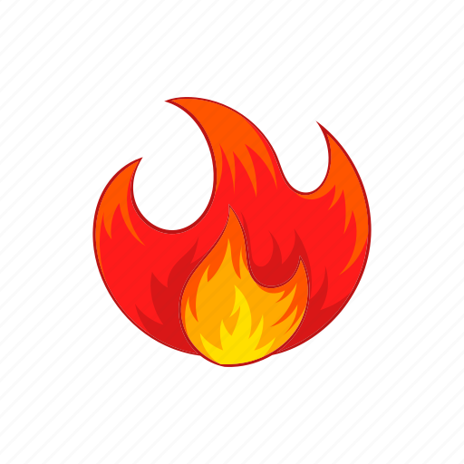bonfire, burn, cartoon, fire, flame, hot, sign icon