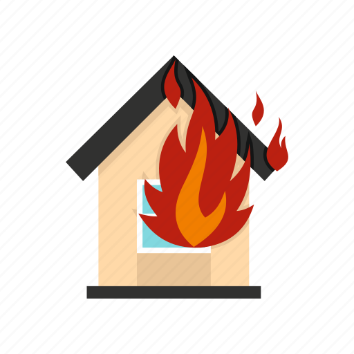 dangerinsurance, destruction, disaster, fire, flame, house, security icon