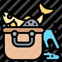 basket, box, container, equipment, fish icon