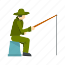 bucket, fisherman, fishing, man, outdoor, rod, water icon