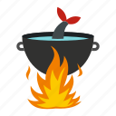 campfire, cooking, fish, food, hot, outdoor, pot icon