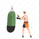 boxing, punching, bag, sport, exercise, fitness, man icon