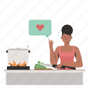 diet, food, prep, cooking, woman, pot, knife icon