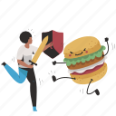 fight, burger, junk, food, woman, people, person icon