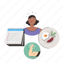 food, exercise, schedule, routine, woman, people, person icon