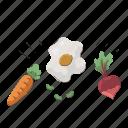 healthy, food, organic, egg, carrot, turnip, vegetable icon
