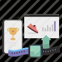 track, progress, smartphone, website, webpage, smartwatch, tracker