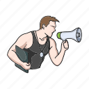 fitness, gym, loudspeaker, man, person, sport, trainer icon
