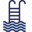 pool, pool ladder, pool steps, swimming, swimming pool icon