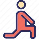 athlete, exercising, sports person, sportsman, stretching icon