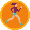 exercise, fitness, girl, health, jog, run, sport, woman icon