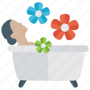 body cleansing, body massage, body shower, relaxation, taking bath icon