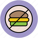 burger prohibition, burger restriction, food, no burger, no fast food, no junk food icon