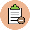 checklist, clipboard, diet chart, document, list, remove from list, report icon