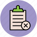 checklist, clipboard, diet chart, list delete, list remove, rejected list, report icon