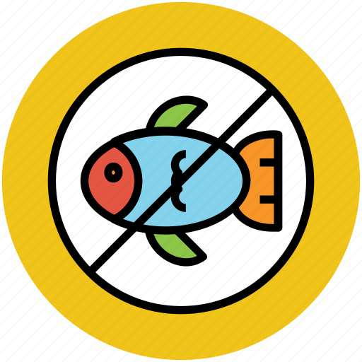 fish not allowed, fish restriction, no fish, no fishing, no seafood icon