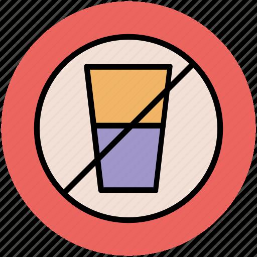 bottle restriction, forbidden, no drink, no water bottle, prohibition icon