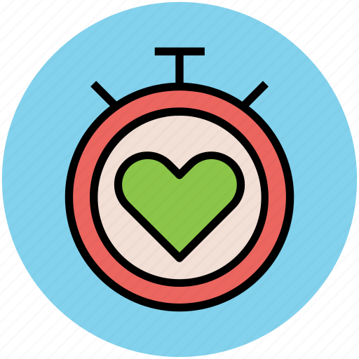 chronometer, heart, stopwatch, time keeper, timer icon