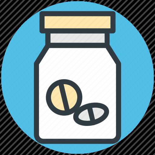 drugs, food supplements, medicine jar, pills, vitamins icon