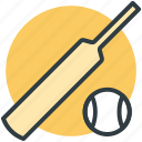 ball, bat, cricket bat, cricket equipment, game, sports, sports ball icon