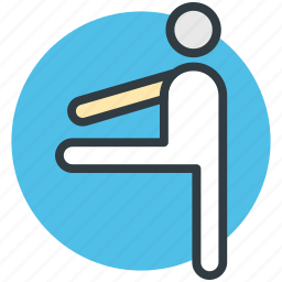 athlete, exercising, sports person, sportsman, stretching icon